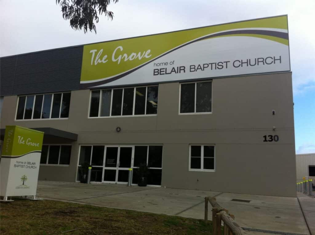 The Grove home of Belair Baptist Church Shop Front Signs Newcastle - Big Colour